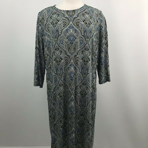 J.jill Paisley Print long Sleeve Maxi Dress